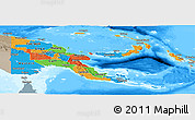 Political Panoramic Map of Papua New Guinea, semi-desaturated, land only