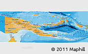 Political Shades Panoramic Map of Papua New Guinea