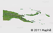 Satellite Panoramic Map of Papua New Guinea, cropped outside