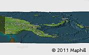 Satellite Panoramic Map of Papua New Guinea, darken