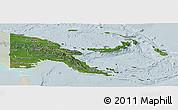 Satellite Panoramic Map of Papua New Guinea, lighten