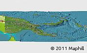 Satellite Panoramic Map of Papua New Guinea, physical outside, satellite sea