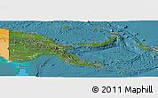 Satellite Panoramic Map of Papua New Guinea, political outside, satellite sea