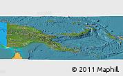 Satellite Panoramic Map of Papua New Guinea, political shades outside, satellite sea