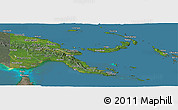 Satellite Panoramic Map of Papua New Guinea, semi-desaturated, land only