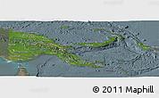 Satellite Panoramic Map of Papua New Guinea, semi-desaturated