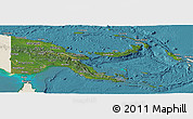 Satellite Panoramic Map of Papua New Guinea, shaded relief outside, satellite sea