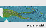Satellite Panoramic Map of Papua New Guinea, single color outside