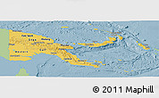 Savanna Style Panoramic Map of Papua New Guinea, single color outside