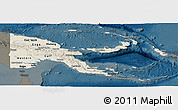 Shaded Relief Panoramic Map of Papua New Guinea, darken