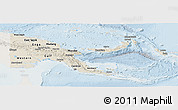 Shaded Relief Panoramic Map of Papua New Guinea, lighten