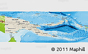 Shaded Relief Panoramic Map of Papua New Guinea, physical outside