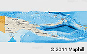 Shaded Relief Panoramic Map of Papua New Guinea, political outside, shaded relief sea