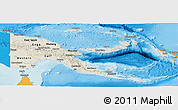Shaded Relief Panoramic Map of Papua New Guinea, political shades outside, shaded relief sea