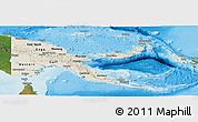 Shaded Relief Panoramic Map of Papua New Guinea, satellite outside, shaded relief sea