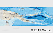 Shaded Relief Panoramic Map of Papua New Guinea, semi-desaturated, land only
