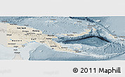 Shaded Relief Panoramic Map of Papua New Guinea, semi-desaturated