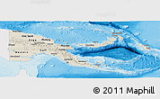 Shaded Relief Panoramic Map of Papua New Guinea, single color outside