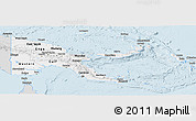 Silver Style Panoramic Map of Papua New Guinea