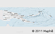 Silver Style Panoramic Map of Papua New Guinea, single color outside