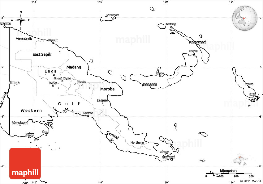 Blank Simple Map of Papua New Guinea