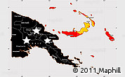 Flag Simple Map of Papua New Guinea