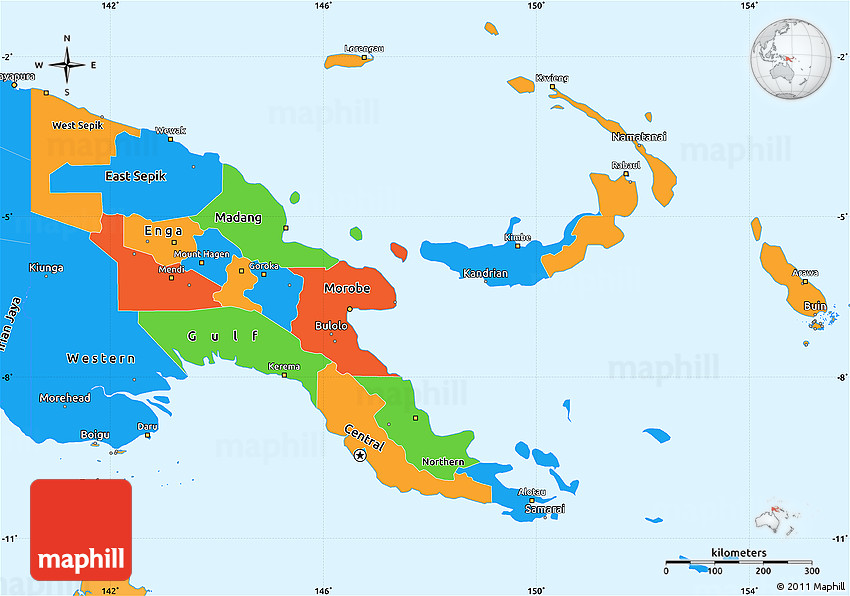 Political Simple Map Of Papua New Guinea Political Shades Outside - Papua new guinea map