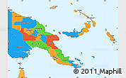 Political Simple Map of Papua New Guinea, political shades outside