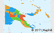 Political Simple Map of Papua New Guinea, single color outside