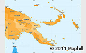 Political Shades Simple Map of Papua New Guinea, political outside