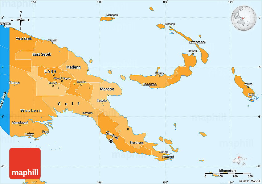 Political Shades Simple Map Of Papua New Guinea - Papua new guinea map