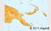 Political Shades Simple Map of Papua New Guinea, single color outside