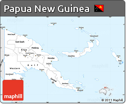 Silver Style Simple Map of Papua New Guinea