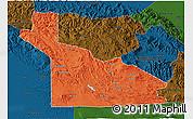 Political 3D Map of Southern Highlands, darken