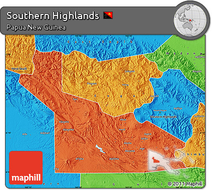 Free Political Map of Southern Highlands