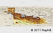 Physical Panoramic Map of Southern Highlands, shaded relief outside