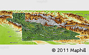 Satellite Panoramic Map of Southern Highlands, physical outside