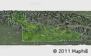 Satellite Panoramic Map of Southern Highlands, semi-desaturated