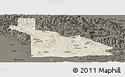Shaded Relief Panoramic Map of Southern Highlands, darken