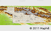 Shaded Relief Panoramic Map of Southern Highlands, physical outside