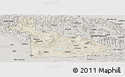 Shaded Relief Panoramic Map of Southern Highlands, semi-desaturated