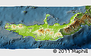 Physical 3D Map of West New Britain, darken