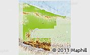 Physical 3D Map of West Sepik, lighten