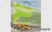Physical 3D Map of West Sepik, semi-desaturated