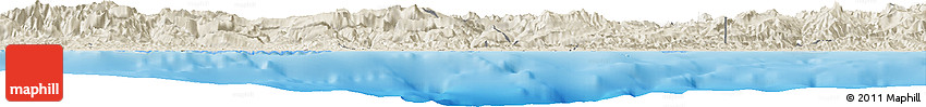 Shaded Relief Horizon Map of West Sepik