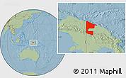 Savanna Style Location Map of West Sepik, hill shading
