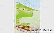Physical Map of West Sepik, lighten