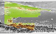 Physical Panoramic Map of West Sepik, desaturated
