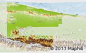 Physical Panoramic Map of West Sepik, lighten