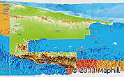 Physical Panoramic Map of West Sepik, political outside